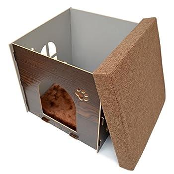 Eyepower Niche à Chien Dôme pour Chat 41x41x41cm Taille Moyenne M Maison boîte carrée avec Couvercle rembourré pour s'asseoir Repose-Pied Marron