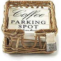 Riviera Maison Parking Spot Coasters - Getränkeuntersetzer Untersetzer - Rattan - 6er Set
