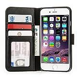 Caseflex Premium iPhone 6 Hülle Echt Leder Schmale Stand Brieftasche mit ID / Bargeld / Karten Aussparrung - Schwarz