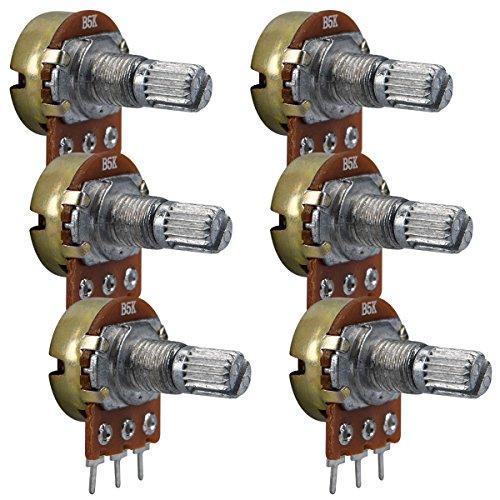 kwmobile 6x Potentiometer für Arduino Raspberry Pi - Widerstand Modul 1k 5k 10k 20k 50k 100k Ohm - Drehpotentiometer linear mit Drehknopf