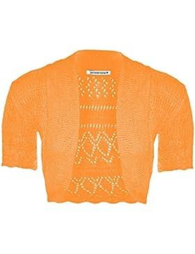 New Girls Kids Short Sleeve Crochet Knitted Bolero Shrug Ladie Cardigan Crop Top