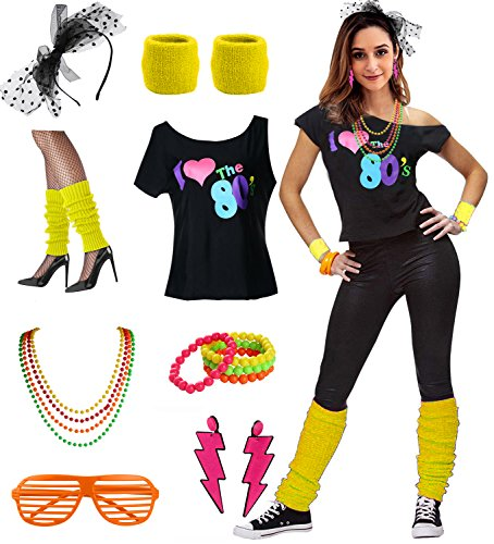 * NEW * 80s Party Costume Set for Ladies with T-shirt and Accessories - many colours