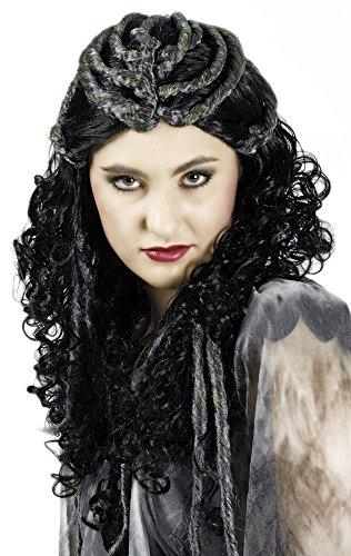 Voodoo Schwarze Langhaar Perücke mit Dreadlocks - Zubehör Kostüm als düstere Magierin, Hexe, Piratin, Teufelin oder Priesterin (Dreadlocks Kostüm Perücke)