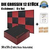 Super Dash Kombination (12 Pack) von 50 X 50 X 2 cm Akustikschaumstoff Noppenschaumstoff Akustik Dämmmatte Schallisolierung Schaumstoff Polster Fliesen SD1035 (ROT & SCHWARZ)