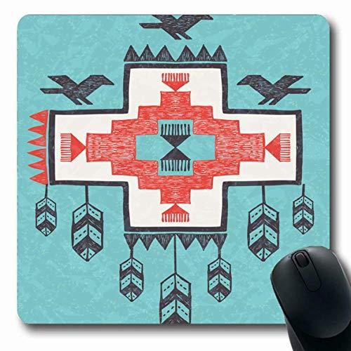 Luancrop Alfombrillas Azteca Étnico Tribal Vintage Extracto Pluma Pájaro Flecha Atrapasueños Diseño indígena Americano Antideslizante Juego Alfombrilla para ratón Estera Oblonga de Goma
