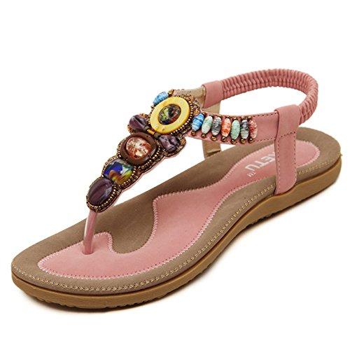 - Elastico da donna con perline, stile romano T-Strap Bohemia stile Folk, fantasia astratta Estate spiaggia Dunlop-Pantofole Sandali infradito forma piatta, antiscivolo Pink