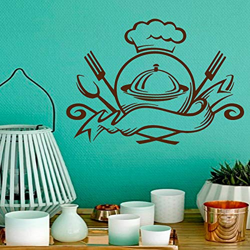 yiyiyaya Wandtattoos Essen Emblem Servierfertig Küche Cafe Interior Design Home Kunstwand Vinyl Aufkleber Aufkleber Kinderzimmer Decor59x76cm
