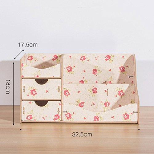 MMM Bureau cosmétique Boîte de rangement Drawer Jewelry Mignon Dresser Skincare Diy en bois étagère Finition ( Couleur : Multi-colored4 )