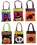 TBSDQLTEV 6 Pack Trick or Treat Taschen, Halloween Gefälligkeiten Taschen, Non-Woven und Wiederverwendbare Candy Eimer mit 6 Verschiedenen Prints