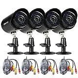 OWSOO Überwachrungskamera Set 4 * 1500TVL Outdoor / Indoor Kugel Sicherheit Cctv-kamera + 4 * 60ft Überwachung Kabel unterstützung Wetterfeste IR-CUT Nachtansicht Plug and Play 3,6mm 24 Infrarot LEDs