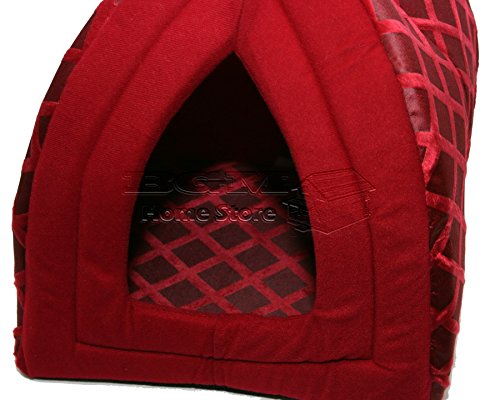 NIGHTS LARGE FLODING LUXURY PET HOUSE BED CAT DOG KITTEN WARM FLEECE IGLOO SOFT CAVE RED ND 2