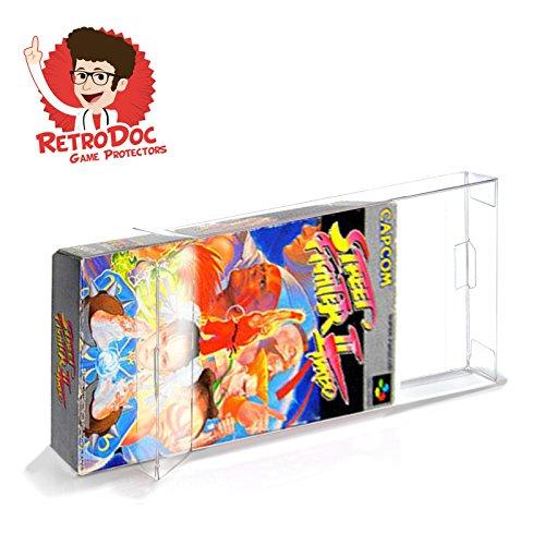20 Klarsicht Schutzhüllen für Super Famicom Games in Originalverpackung - Passgenau und Glasklar - PET - Retro-Doc Game Protectors - CIB - Extra Laschen - Super Famicom OVP - Bessere Optik