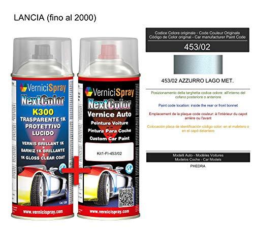 Kit Vernice Auto Spray 453/02 AZZURRO LAGO MET. e Trasparente Lucido Spray - kit ritocco vernice metallizzata 400+400 ml di VerniciSpray