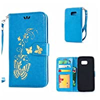 Galaxy S7 Edge Case + Free Tempered Glass Screen Protector, KKEIKO® Galaxy S7 Edge Wallet Case, Premium PU Leather Flip Cover with Card Slots, Cash Holder, Wrist Strap and Kickstand, Slim Fit Book Style Holster Case for Samsung Galaxy S7 Edge (Butterfly