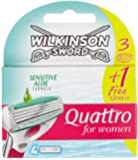 Wilkinson Sword Quattro for Women Sensitive Pack de 4 lames 3 + 1 offerte