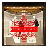 QTZJYLW Weihnachtsfensteraufkleber Weihnachtsschneeflocke Abnehmbare Wandaufkleber Abziehbild Dekor Weihnachten Transparent Fenster Tapeten Shop, Rot
