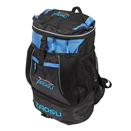 ZAOSU Triathlon- & Schwimm-Rucksack - Transition Bag | 45 Liter mit Nassfach für Schwimmbekleidung nach dem Wettkampf oder Training, Farbe:blau