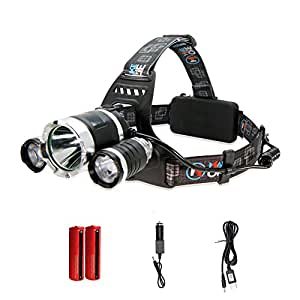 MakeTheOne Lampe frontale Phare 5000Lumen 3 x CREE XM-L T6 LED Headlamp Rechargeable Etanche Phare Velo + 2 X 18650 Batterie + Chargeur
