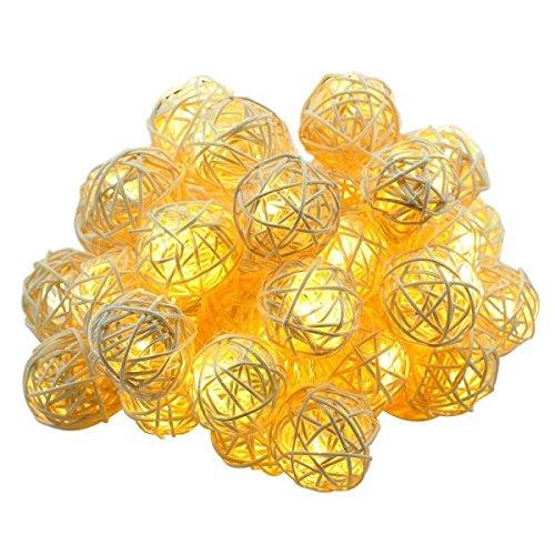 LGZOOT 20 Rattan Sfera LED Luci Della Stringa A Pile Di Festival Della Decorazione Del Giardino Lanterna Luci Della Stringa 2 Pezzi,WarmWhite