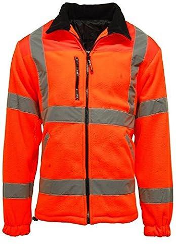 New Mens Hi Vis Fleece Jacket Heavyweight 300g Full Zip Warm 2 Side Pockets Elasticated Cuffs Work EN471 Reflective Tape Safety High Viz Suitable For Work Leisure Workwear Walking Comfortable Casual Warm ORANGE