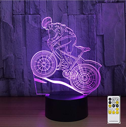 Mountain Bike 3d Night Light Acryl Optische Illusion Led Table Light Mood Lamp Touch Remote Control 7 Farben Light Kid Gifts