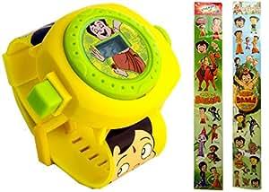 Original Chota Bheem Projector Watch 24 Images & 2 Chota Bheem Sticker Strips with 32 Stickers