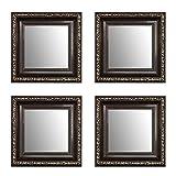 20 x 20 cm Kleine Dekorative Spiegel Paket 4 Stück Alte Spiegel, Handgefertigte, Stabiler Rückwand, 4 Rahmen Farbe