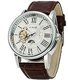 SEWOR Luxus Tourbillon Herren Moon Phase für große Automatische Mechanische Armbanduhr Leder Band (White)