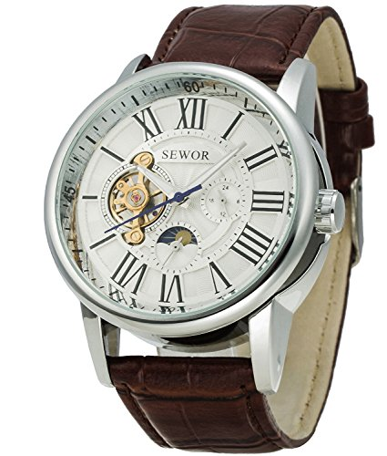 Sewor Luxury Tourbillon Mens Moon Phase Big Size Automatic Mechanical Wrist Watch Leather Band (White)