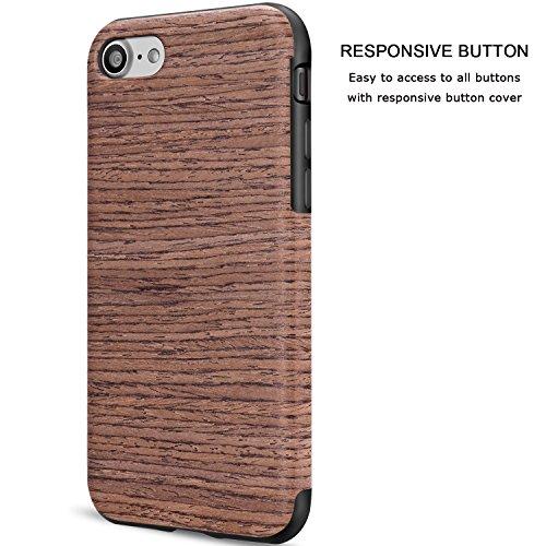 TENDLIN iPhone 7 Hülle Holz [Exakt-Anpassen] Flexiblem TPU Silikon Hybrid Weiche Schutzhülle für iPhone 7 (Santos Rosenholz) Black Rose Wood