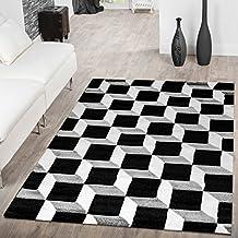 Designer Alfombra Salón Dados Geo Diseño 3d efecto gris crema Liquidación, 60 x 110 cm