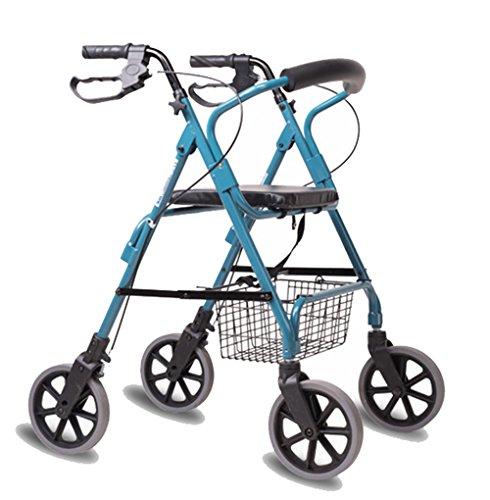 Andador de acero inoxidable azul colores Walker plegable con ruedas (4ruedas–Andador (con asiento y cesta