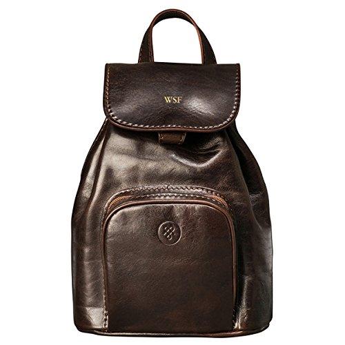 Maxwell-Scott® PERSONALISIERT! Luxus Leder City Rucksack (Popolo) Dunkelbraun