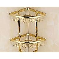 QUEEN'S Triángulo de cobre baño Cesta rack de esquina, Continental antiguo baño de oro Colección suministros de baño estanterías con gancho
