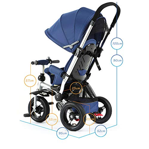 QXMEI 3 In 1 Childrens Tricycles 7 Months To 5 Years 3-Point Safety Belt Rear Wheel With Brake Kids Tricycle Detachable And Adjustable Push Handle Child Trike Maximum Weight 25 Kg,Blue  QXMEI