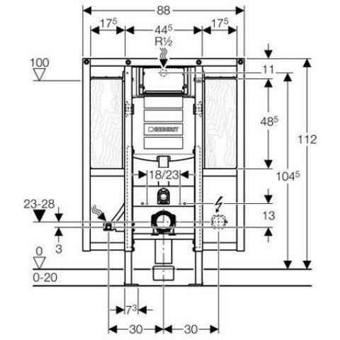 Geberit Duofix Wand-WC, 112 cm, mit UP-Spk. UP320, barrierefrei, für Stütz- und Haltegriffe 111.375.00.5