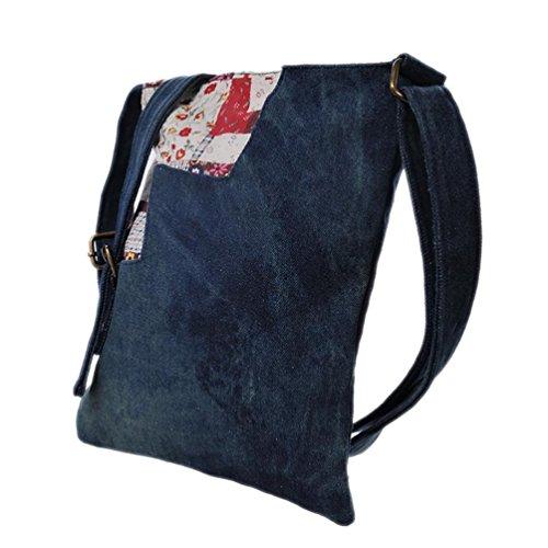 Chang Spent Damen casual Trend des national Wind Denim Leinwand Schulter Umhängetasche Blue