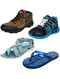 Bersache Men Combo Pack Of 4 Casual Shoes With Sports Shoes & Sandal & Slipper