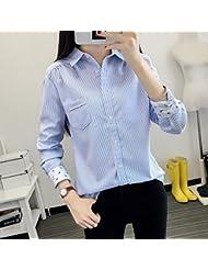 Rayas verticales azul y blanco de primavera versión coreana de largo mangas de la chaqueta de la camisa azul base Joker relajada,XL,Raya azul