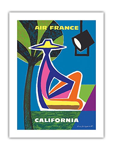 kalifornien-air-france-vintage-retro-fluggesellschaft-reise-plakat-poster-von-guy-georget-c1963-prem