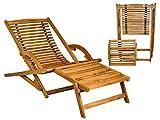 MALATEC Holz Sonnenliege Gartenliege Liegestuhl Relaxliege Liege Gartenmöbel #5097