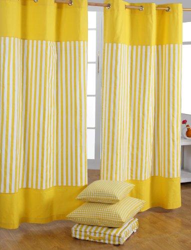 Homescapes 'tenda thick stripe. 100% cotone. tenda della coppia. colori: giallo. di facile manutenzione, lavabile a casa, tessuto, gelb, 117 x 137 cm