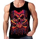 Velocitee Mens Vest Melting Skull & Crossbones Pirate A20306