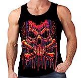 Velocitee Mens Vest Melting Skull & Crossbones Pirate A20306