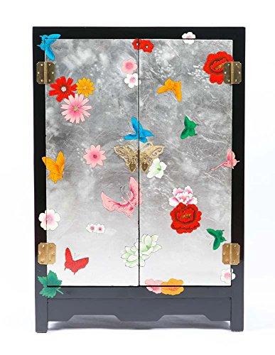 Fine Asianliving Nachttisch Chinesischer Möbel Kleine Nachttisch Schrank schwarz yangzhou Lack mit Schmetterlinge Oriental asiatischen Wohnzimmer Schlafzimmer Möbel-Decor Schränke nachttischmöbeln -