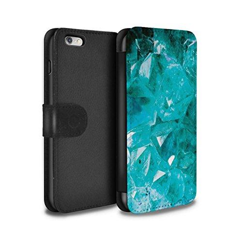 STUFF4 PU-Leder Hülle/Case/Tasche/Cover für Apple iPhone 8 Plus / Februar/Amethyst Muster / Edelstein/Stein Kollektion Marsch/Aquamarin