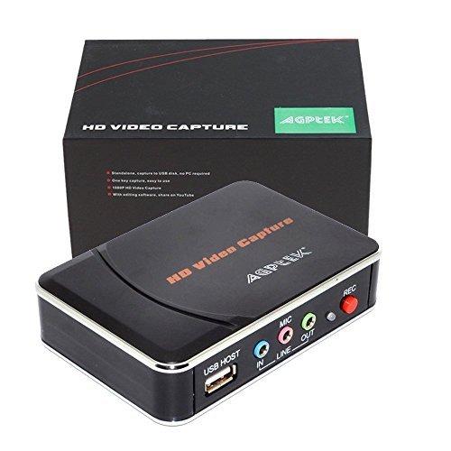 AGPTEK HD Game Capture 1080P HDMI Videorekorder Sprachaufnahme, Kompatibel mit WiiU/Nintendo-Switch/Xbox One/PS4 usw. Unterstützung für Mic In