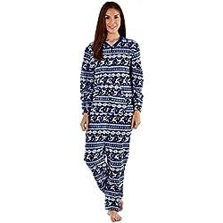 Selena Secrets Femmes à Capuche Luxe Molleton Combinaison Pyjama - Marine - Blanc, Taille - UK - 12/14