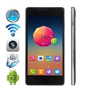 """Cubot S208 Smartphone Mince 5.0"""" écran tactile Google Android 4.2 MTK6582 Débloqué Quad Core Dual SIM 3G Wi-Fi Bluetooth GPS - Noir - resolution 960 x 540 - caméra arrière (8.0 mégapixels), caméra frontale (5.0 Mégapixel)"""