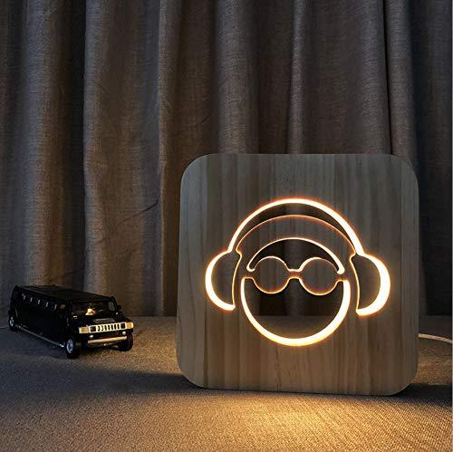 Nachtlicht 3d Kopfhörer Nordic Post Moderne Hölzerne LED Tischlampe Schlafzimmer Warmes Licht Dekoration USB-Atmosphäre Lampe